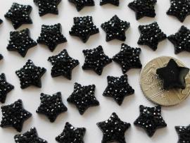Flatback Ster zwart glitter