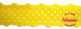 Stippenband met schulp randje geel