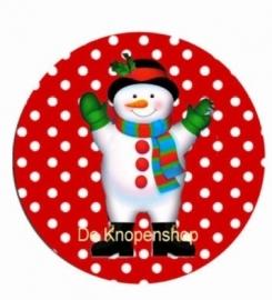 Flatback sneeuwpop rode polka dot (173)