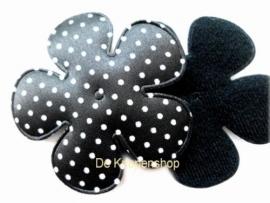 A0350 Polkadot bloemen zwart 6,5cm pst