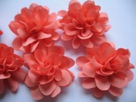Chiffon bloem coral 5,5 cm