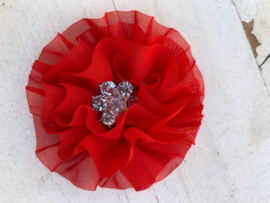 Luxe bloem met bloem strass  rood