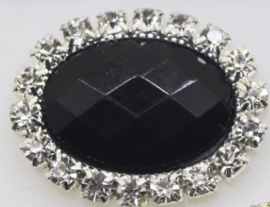 Flatback rhinestone ovaal zwart mat