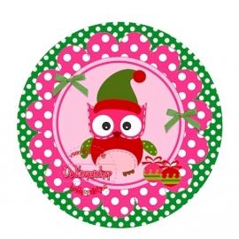 Flatback kerst uiltje polkadot fuchsia op groene polka dot (k147)