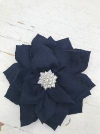 Luxe bloem satijn met ster strass zwart