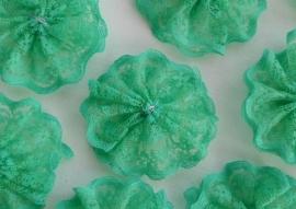 Kanten rozet/bloem groen  5cm