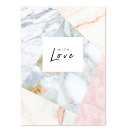 Sieraden kaart 'with love' Off white-rose