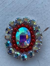 Luxe rhinestone diamant meekleurend parels rood