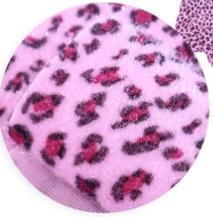 Leer/stof velvet  panter/tijger licht roze 20x30 cm
