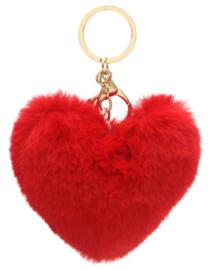 Tas/Sleutelhanger fluffy hart rood