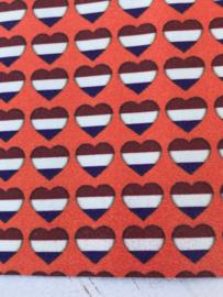 Leer oranje glitter hartje rood-wit-blauw