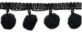 Pompomband zwart 2cm