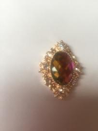 Flatback rhinestone meekleurend hot pink-gold-groen