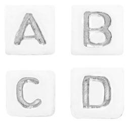 Letterkralen  Wit-zilver  vierkant