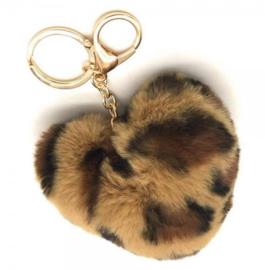 Tas/Sleutelhanger fluffy  hart tijger