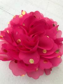 Bloemen chiffon 10 cm hot pink polkadot goud