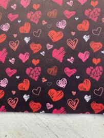 Leer zwart hartje rood/roze/wit