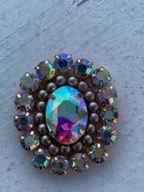 Luxe rhinestone diamant meekleurend parels taupe