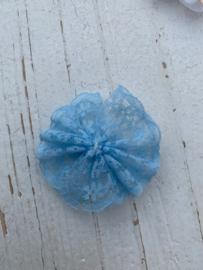 Kanten rozet/bloem lichtblauw  4.5cm.