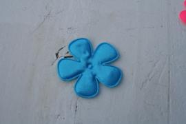 Satijnen applicatie bloem blauw 4.7 cm