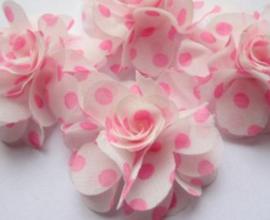 Bloem chiffon off white neon roze polkadot 5cm