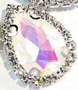 Flatback rhinestone druppel luxe kristal roze spiegelend 2.3cm