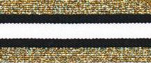 Elastiek gestreept zwart-wit met goud glitter 3 cm