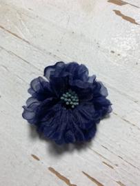 Vintage bloem donkerblauw 5cm