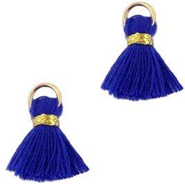 Kwastje Ibiza/bohemian  style 1.5cm Gold-royal blue