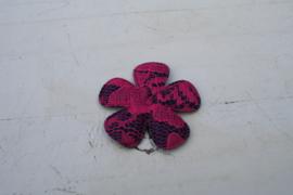 Bloem satijn donkerblauw /kant hot pink 4.7cm