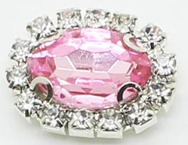 Flatback rhinestone ovaal luxe roze