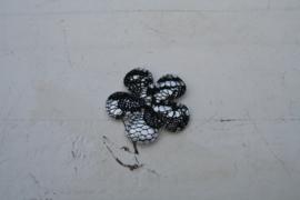 Bloem metallic zilver/kant zwart 3.5cm