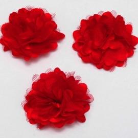 Stoffen satijn bloem met schijfje 5cm *rood* pst