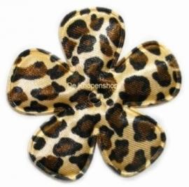 Bloemen luipaard print 3,5cm satijn