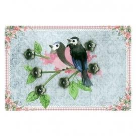 Clayre & Eef bloemen knoopjes (vogel)