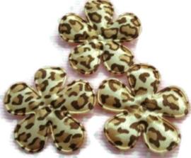 Bloemen luipaard print licht 3,5cm satijn