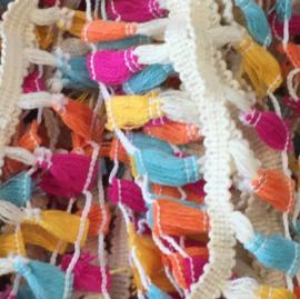 Sierband kwastjes knal roze/oranje/blauw/geel/ivoor