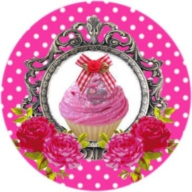 Flatback  cupcake & frame polkadot fuchsia (k289)