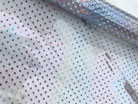 Leer doorzichtig kristal polkadot regenboog  20x30 cm