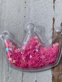 Kroon transparant ster pailletten neon roze