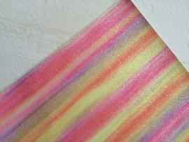 Regenboog glitter leer pastel 20x22 cm