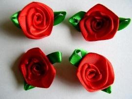 Roosjes met fel groen blad rood 3,5cm