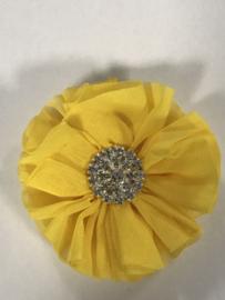 Luxe bloem met strass  geel