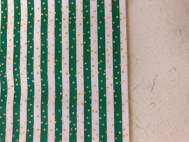 Leer streep  wit/groen met gouden stipjes