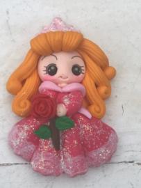Prinses met roos fimo klei poppetje
