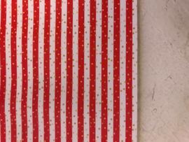 Leer streep  wit/rood met gouden stipjes