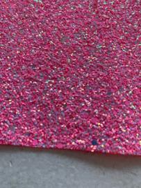 Glitter Leer grof neon roze/zilver mix 20x30 cm