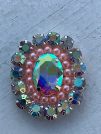 Luxe rhinestone diamant meekleurend parels roze