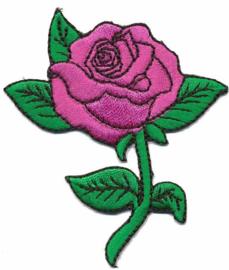 Opstrijkbare Roos roze met steel