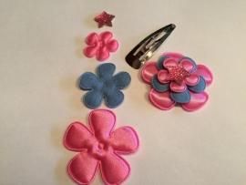 DIY Haarknipje jeans/neon pink